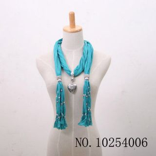 1pcs love heart pendant scarves with jewelry beads Tassels turquoise