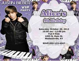 10 CUSTOM JUSTIN BIEBER BIRTHDAY PARTY INVITATIONS OR THANK YOU CARDS
