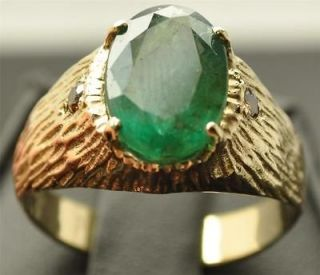 76 CT ZAMBIAN EMERALD + CHAMPAGNE DIAMOND 10K GOLD MENS RING NEON