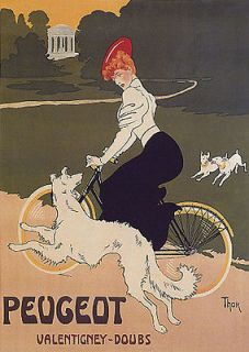 BICYCLE BIKE CYCLES DOGS GIRL PEUGEOT DOUBS FRANCE VINTAGE POSTER
