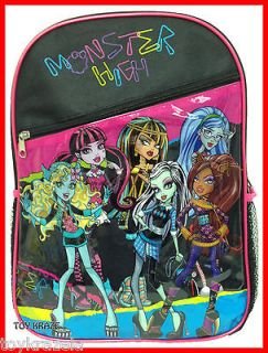 MONSTER HIGH BACKPACK 16 GIRLS LARGE SCHOOL BAG FREAKY COLORFUL