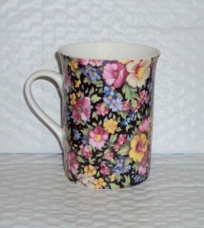 England China 10 oz Coffee Mug Tea Cup Chintz Teacup Pink Yellow