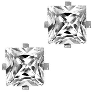Princess Square Cut Clear CZ Stainless Steel Men Magnetic Stud