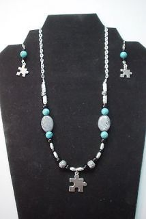 Autism Jewelry  Puzzle Piece Necklace and Earrings set   Many styles