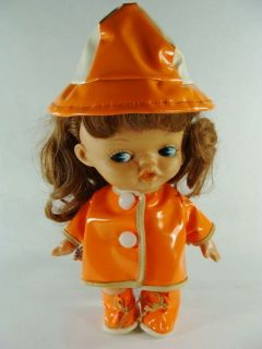 Dakin Dream Doll 1966 Annette Vinyl Raincoat Boots Hat Plastic Vintage