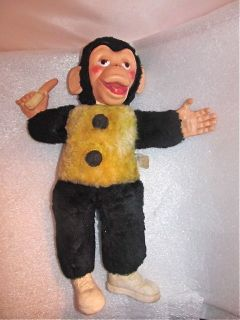 Vintage Mr Bim Stuffed Rubber Face Monkey Holding Banana by Columbia