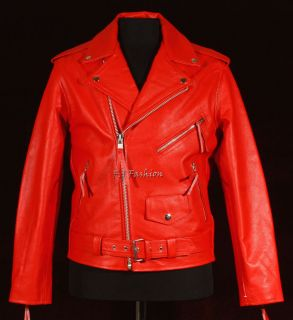 Brando Red Mens Motorcycle Cruiser Biker Real Cowhide Leather Fashion
