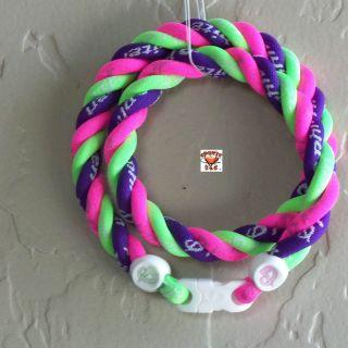 Phiten Triple Twist Necklace   Hot Pink/Optic Green/Purple Custom NEW