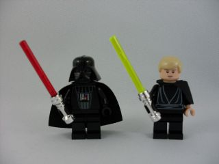 Lego Star Wars Darth Vader and Jedi Skywalker w/ chrome hilt sabers
