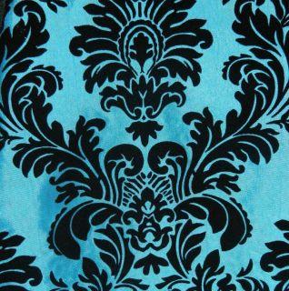 Flocked Taffeta Fabric  High quality Blue & Black Flocking Damask