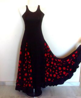 Ladies Spanish Flamenco Dance Dress, Black & Red Small   Medium