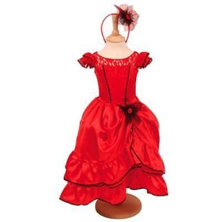 Girls Red Spanish Flamenco Fancy Dress Up Dance Costume
