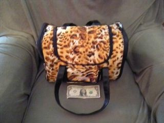 Leopard Print Small Cat Dog Animal Carrier w/backpack straps too