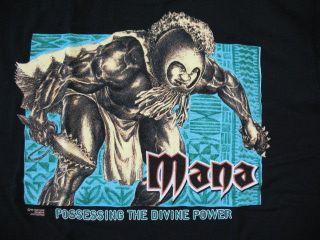 Hawaiian Strength Mens Black Mana Hawaiian Warrior T Shirt Sz L   NWOT