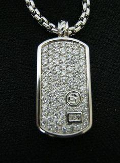 David Yurman Mens 18K White Gold Diamond Dog Tag New
