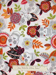 JARDIN DE LOS MUERTO Fabric Skull White Folklorico   Alexander Henry