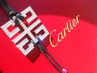 BAISER DU DRAGON ART DECO 18K WHITE GOLD DIAMOND NECKLACE PENDANT BOX