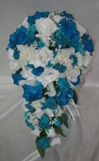 Turquoise Blue Silk Flower Wedding Bridal Bouquet Cascade Package