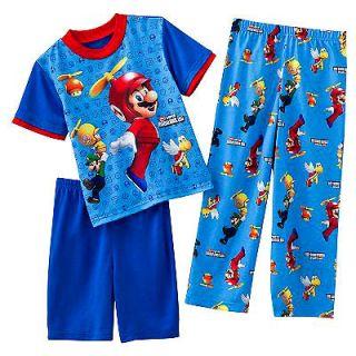 SUPER MARIO BROS Wii 3 Pc Pajamas 6 8 10 12 Shirt Pants Shorts PJS