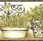 CKB779324 Kitchen Wallpaper Border / Modern Herbs Wall Border / Black