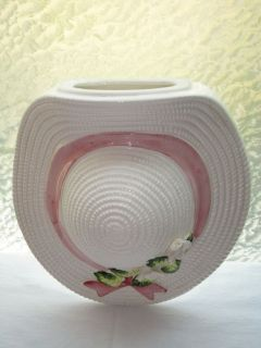Vintage Flower Hat Wall Pocket Pink & White Flower Pot Wall Decor
