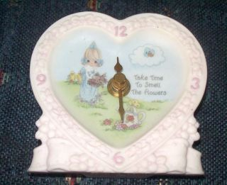 1998 Precious Moments Clock Take Time To Smell The Flowers Heart