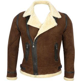 Mens Black Rivet Faux Suede Jacket w/ Shearling Collar
