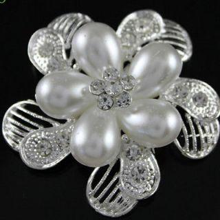 Quality Austrian Crystal & Pearl bridal/Wedding Brooch Pins WJ0130