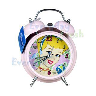PRINCESS CINDERELLA Twin Bell Alarm Desktop Childen Clock w Light