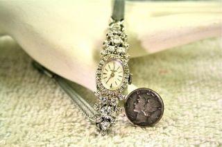 Stunning Massive Estate 14K White Gold Ladies Diamond Swiss Watch $