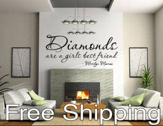 DIAMONDS ARE A GIRLS BEST FRIEND marilyn monroe wall vinyl sticker art