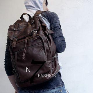 NEW Mens Brown Leather Packsack Backpack Travel Bag
