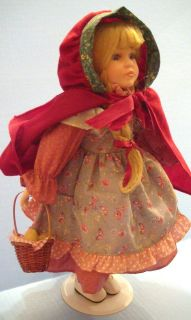 Sweet 16 Porcelain Girl Doll Dressed as Little Red Riding Hood With
