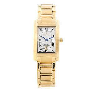 Croton Womens Gold tone Link Watch Rectangular Diamond Encrusted