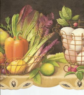 FRUIT VEGETABLES IVY ON SHELF BLK COUNTRY KITCHEN Wallpaper bordeR