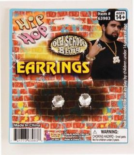 Big Diamond Stud Earrings Hip Hop Rapper Costume Bling