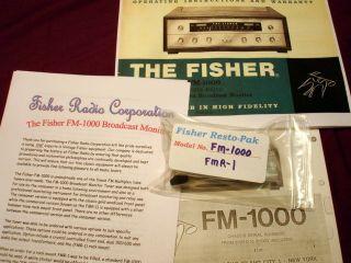 1000 FMR 1 Vacuum Tube Tuner Radio Broadcast Monitor Restoration Kit
