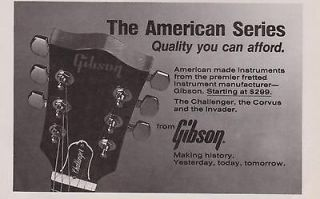 1983 GIBSON CHALLENGER CORVUS INVADER AMERICAN SERIES GUITAR PRINT AD