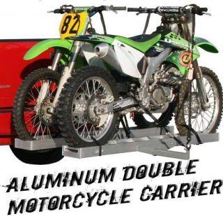 DOUBLE MOTORCYCLE DUAL DIRT BIKE HITCH CARRIER HAULER RACK+RAMP