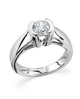 CT BRILLIANT ROUND CATHEDRAL HALF BEZEL SET ENGAGEMENT RING SOLID GOLD