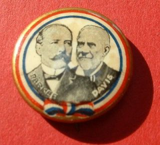 PARKER DAVIS Henry jugate TR Roosevelt political campaign button pin