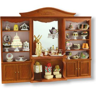miniature furniture set cafe Store cake shop Display case shelf New