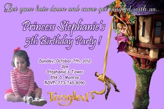 Disney Princess Tangled Birthday Party Photo Invitation Rapunzel U