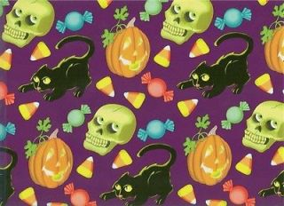 JACK O LANTERNS BLACK CATS HALLOWEEN ROLLED GIFT WRAP PAPER