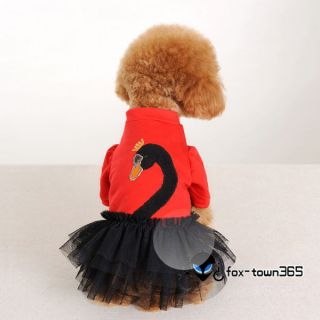 Pet Dog Cloth Apparel Puppy Ruffle Tulle Skirt Dress With Cute Swan