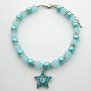 Dog pearls necklace,pet collar with blue star charm/10 12,pet
