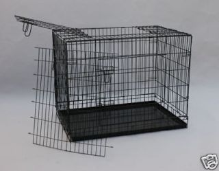 New 42 3 Doors Wire Folding Dog Crate Cage Kennel w/METAL PAN NO