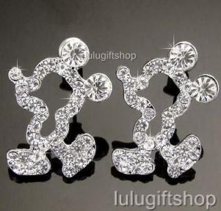 DISNEY MICKEY MOUSE WHITE GOLD PLATED STUD EARRINGS USE SWAROVSKI