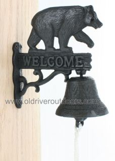Rustic Black Bear Cast Iron Bell   Door / Dinner / Welcome / Cabin   3