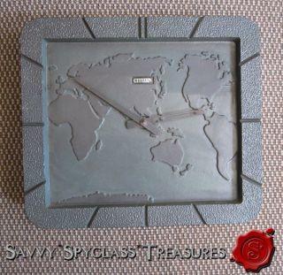 Vintage Cast Iron Citizen World Map Clock
